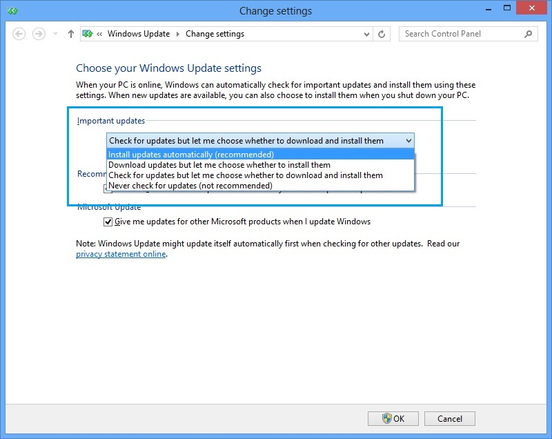 how to get rid of windows update security settings notice