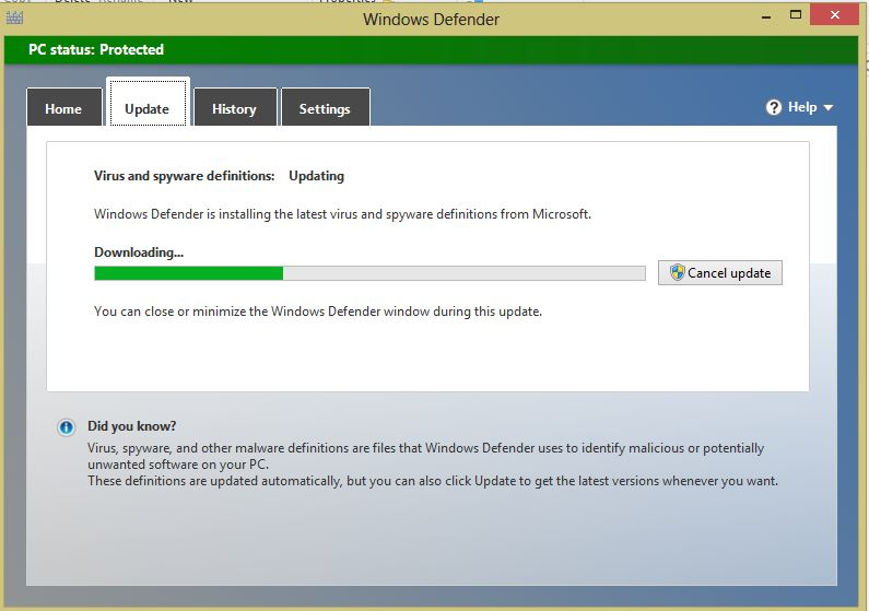 how to update windows defender in windows 8 automatic