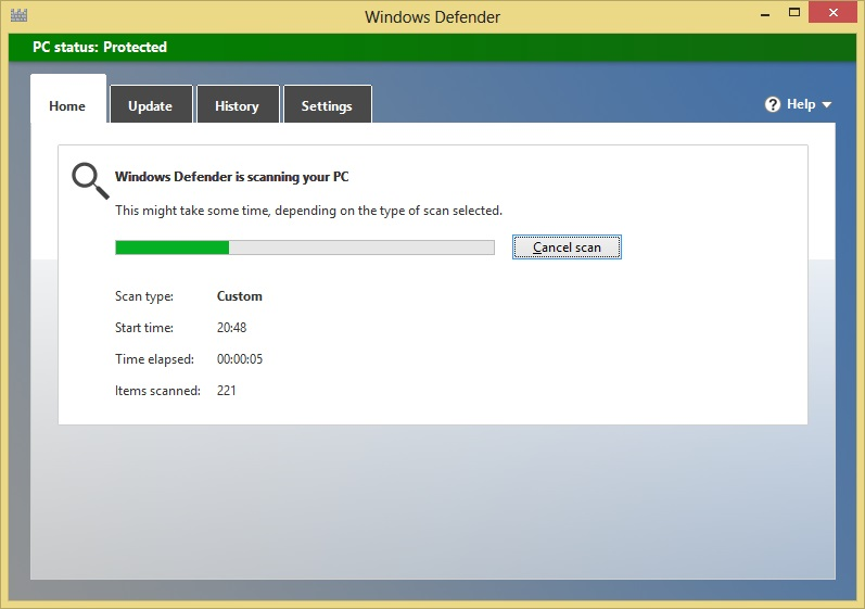Scan Started in Windows 8