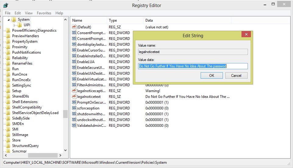 LegalNoticeText - Registry Editor