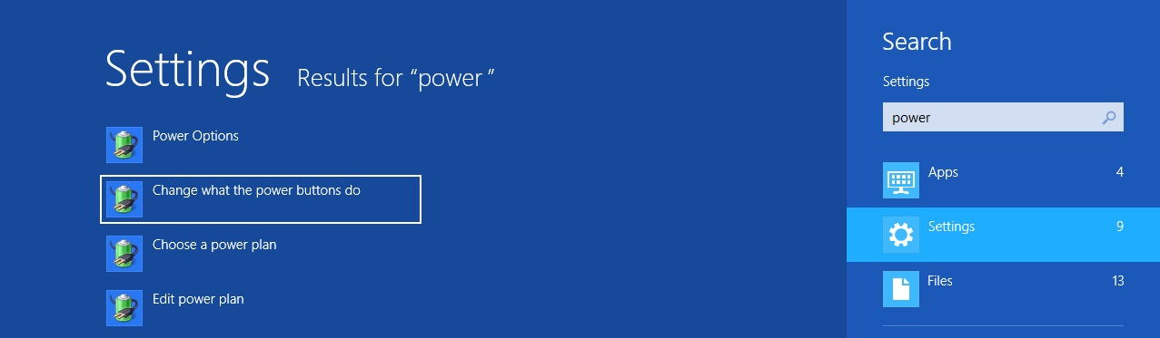 Change What The Power Button Do - Setting Charm