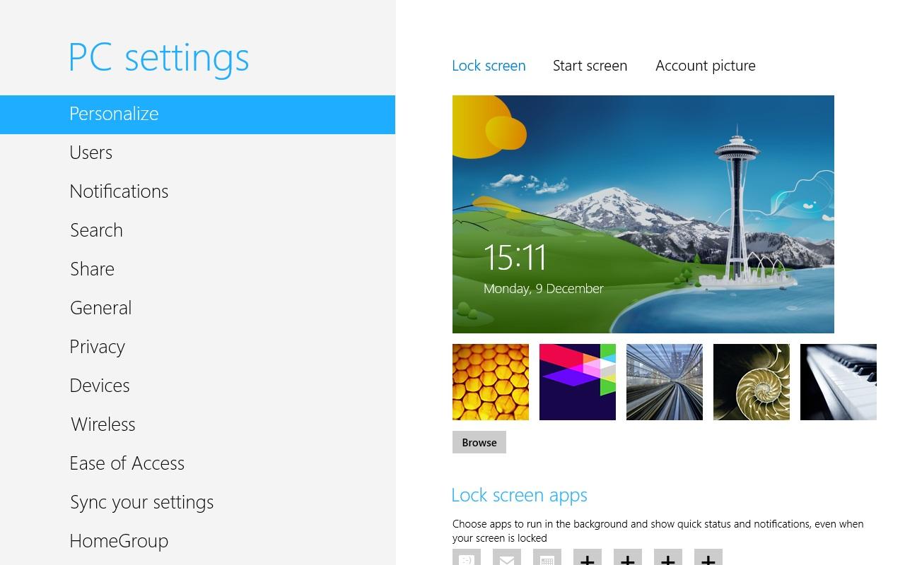 PC Settings In Windows 8