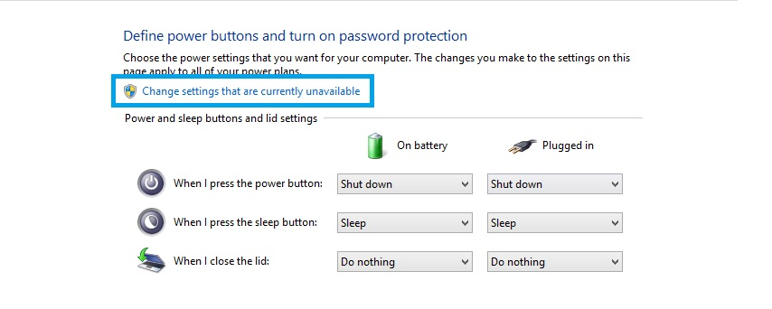 change setting that are currenly unavailable - Power Option