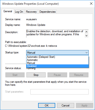 Windows Update Properties Dialog Box to Disable Windows 10 Update