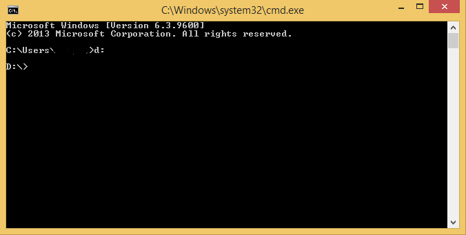 access files and folders using command prompt-drive change